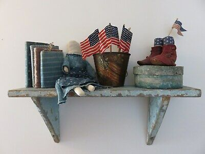 Small Primitive Antique Wall Shelf, Layers Of Very Good Old Blue Paint, Aafa