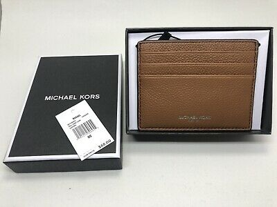 5e5f4950fc87b9 NEW Michael Kors Men's Russel Tall Card Case Wallet Leather Brown Lugga NIB  NWT