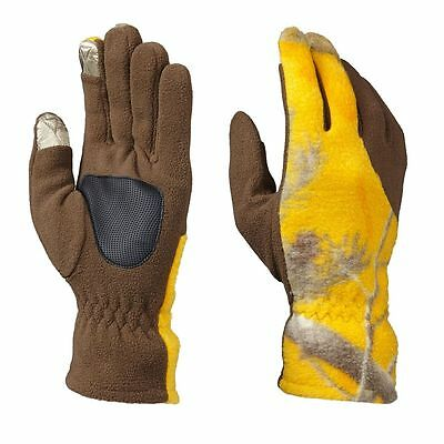 Realtree Yellow Camo Ladies Shooting Gloves - Camouflage Hunting Touch Fleece