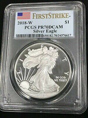 2018-W American Silver Eagle Proof - PCGS PR70 DCAM First Strike Red Flag Label
