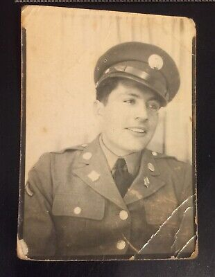 Vintage Photograph Photo Booth Handsome Man In Uniform 1940s