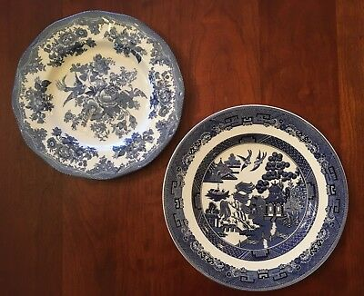 Two Johnson Brothers England Blue White Plates - Asiatic Pheasant & Willow
