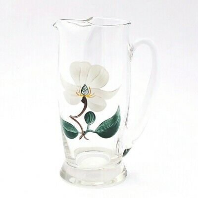 Vintage Glass Martini Pitcher Barware Hand Painted White Flower Heavy Crystal