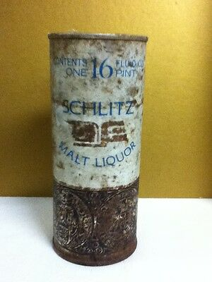"Schlitz malt liquor metal pull top old beer can 16 oz. 6.25"" Milwaukee J4 old"