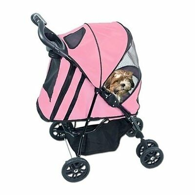 Pet Gear Pink Happy Trails Pet Cat Dog Stroller with Weather Cover pet up to 30#