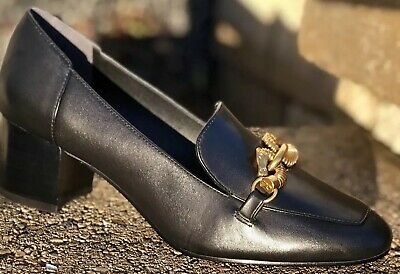 61a597e19a4 Nib  358 Tory Burch Jessa Pump Loafer Black Gold Horse Hardware Leather Sz 8