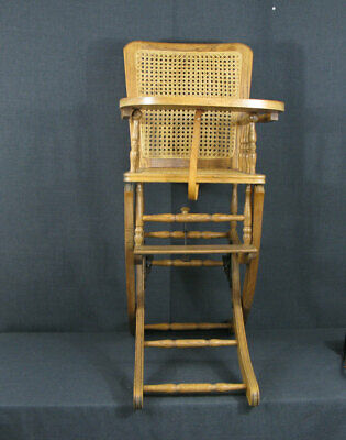 Vintage Convertable Childs Rocking/High Chair For Doll Or Decoration