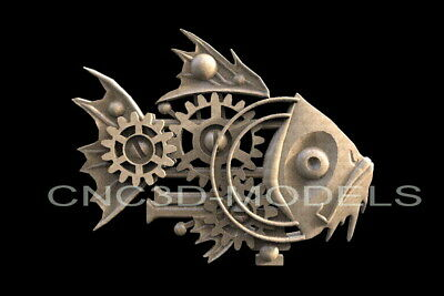 3D STL Models for CNC Router Engraver Carving Artcam Aspire Fish Decor H108