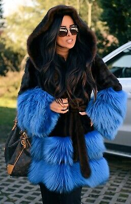 New Real Mink Fox Fur Trench Coat Hood Clas Of Sable Chinchilla Vest Long Jacket