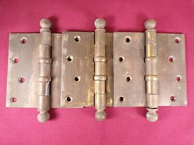 """3 Stanley 4"""" x 4"""" Solid Brass Door Hinge Commercial Ball Bearing Vintage USA"""