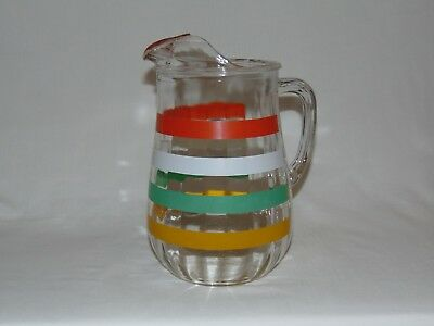 "VINTAGE 1930's OPTIC DEPRESSION GLASS 9"" RED GREEN YELLOW RING BAND PITCHER JUG"