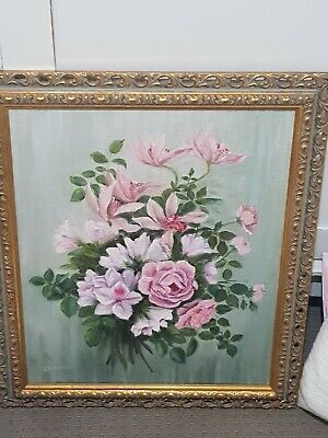 Shabby Chic Vintage Gold Framed Flower/floral oil Painting, Pinks, Greens