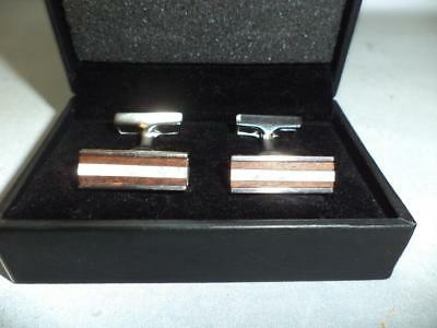 Vintage Hugo Boss Sterling Silver & Mother of Pearl Cuff Links in Original Box