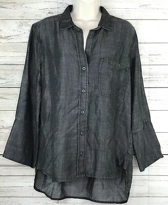 929b967ec300 Cloth   Stone Shirt Tail Button Down Chambray Top Size Medium Anthropologie
