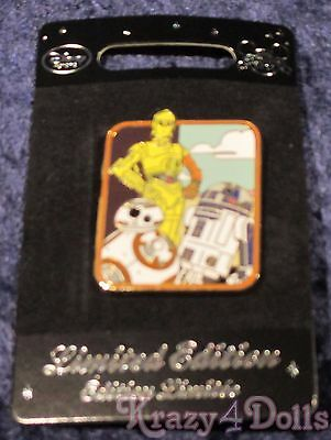 Disney Star Wars Force Awakens Limited Edition Droid Pin R2D2, BB-8, C-3PO New!