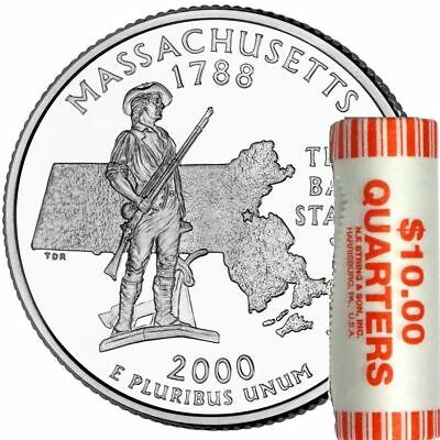 2000 P Massachusetts State Quarter Unc & Unopened Bank Wrapped Coin Roll BU