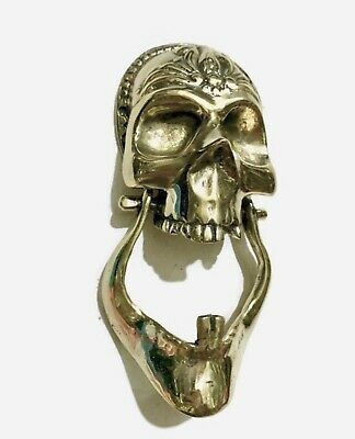 """2 SKULL head and JAW heavy front Door Knocker SOLID BRASS day of the dead 8"""" B"""