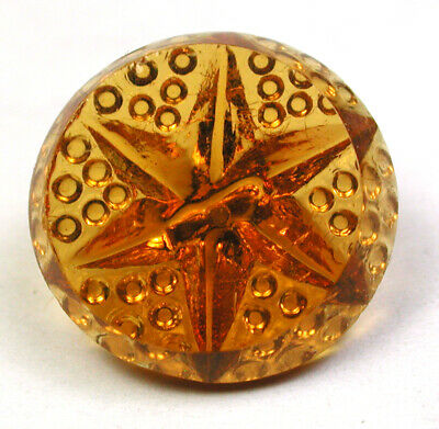 """BB Antique Charmstring Glass Button Hinewy w Molded Star & Hob Back 5/8"""""""
