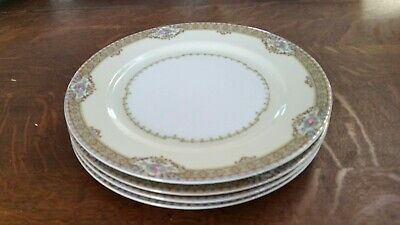"""4 Meito China Annette Dinner Plates 10"""" Rose Insets with Gold Trim"""