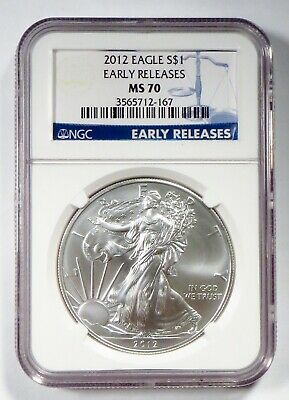 2012 AMERICAN EAGLE 1oz Silver Bullion Coin • NGC MS 70 EARLY RELEASES