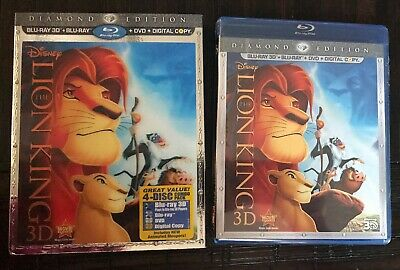 NEW The Lion King 3D Blu-ray DVD Digital 4-Disc Set Diamond Edition w/Slip Cover