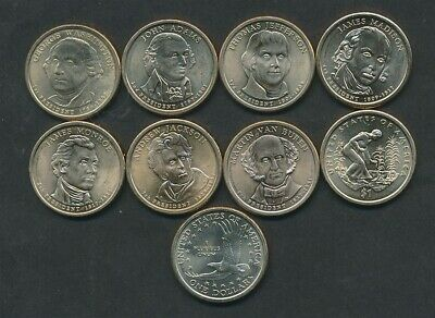 United States: 7 x President $1, 2009 Three Sisters $1 & 2007 $1 Lot of 9 UNC