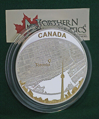 2011 Canada $25 Toronto City Map 2 oz  99.99% silver with gold plating