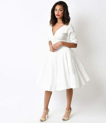 0773118836 UNIQUE VINTAGE 1950S Ivory Delores Swing Dress with Sleeves -  56.31 ...