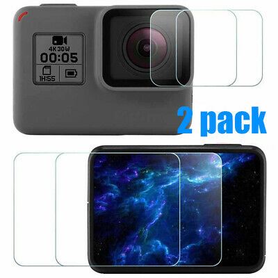 2x LCD Screen + Lens Tempered Glass Film Protector For GoPro Hero 5 6 7 Camera