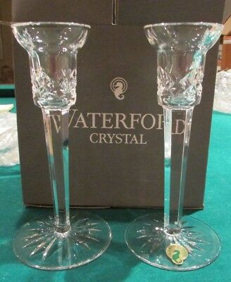 "WATERFORD Set Of 2 Clear Lismore Cut Lead Crystal Candlesticks 7"" Tall"