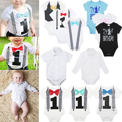 7c54a756e Newborn Infant Baby Boys 1st Birthday Romper Overalls Bodysuit Party Outfits  Set