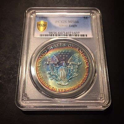 MS66 1990 $1 Silver Eagle PCGS Secure- Colorful Rainbow Toned