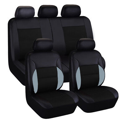 9 Piece Set All Seasons Universal PU Leather 5 Seats Car Seat Covers
