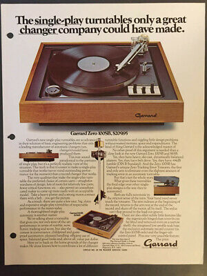GARRARD ZERO 100SB 86SB 125SB Turntable Original Catalogue