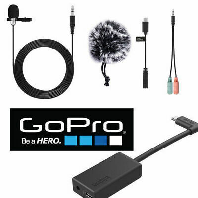 GoPro Pro 3.5mm Mic Adapter HERO5 Black/HERO5 Session + HD LAVALIER MICROPHONE