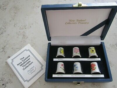 Vintage NEW ZEALAND Wildflower Thimbles Boxed Set by Bond