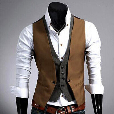 C481 New Men's Casual Jacket Slim Fit Skinny Dress Vest Waistcoat (khaki) XXL