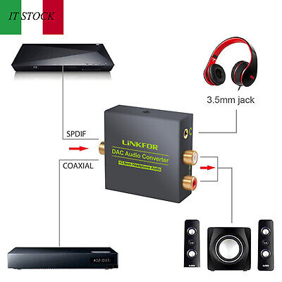 Convertitore di fibra coassiale digitale DAC audio per HDTV DVD Sky +3,5 mm jack