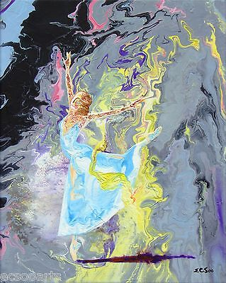 Original Acrylic Abstract Ballerina Painting - Meadow Mist - New, Artist Signed