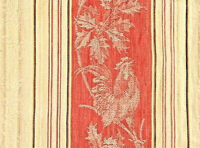 "Antique French Rooster Pink Cream Linen Cotton Ticking 22 3/4"" x 55"" 58 x 140cm"