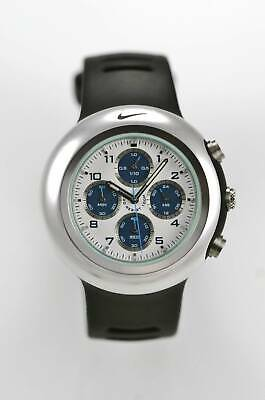 Nike WA0022 Watch Oregon Mens Chrono 24hr Silver Black Rubber 100m White Quartz