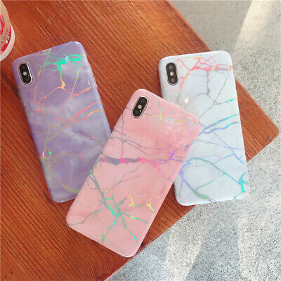 Shiny Marble Iridescent Holographic Silicone Glossy Phone Case Cover For iPhone