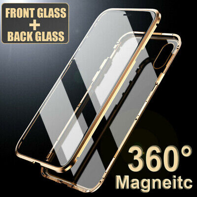 1Pc 360° Magnetic Adsorption Front+Back Temper Glass Case Cover for iPhone