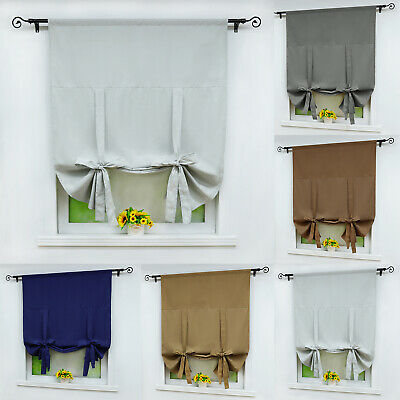 Liftable Darkening Roman Curtain Rod Pocket Window Curtain Panel Decor 5 Colors