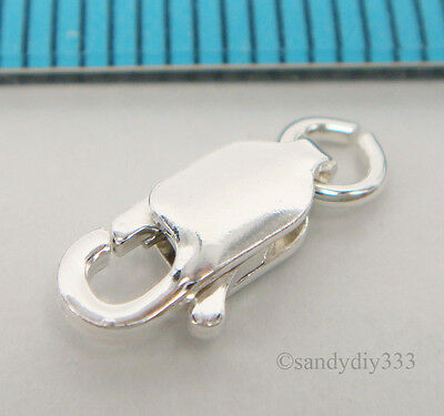 10x ITALIAN  STERLING SILVER LOBSTER CLASP BEADS  4mm X 10mm (#019A)