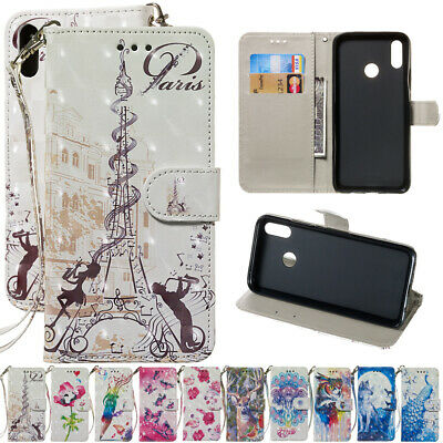 For Huawei P30 P20 P10 P9 Lite Painted Leather Flip Kickstand Wallet Case Cover