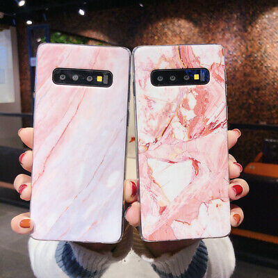 Matte Marble Pattern Soft Rubber Case Cover For Samsung Galaxy S10+ S10e S9+ S8