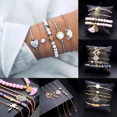 Fashion Womens Jewelry Set Rope Natural Stone Crystal Chain Alloy Bracelets Gift