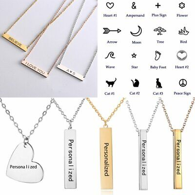 Personalized Stainless Steel Engraved Name Bar Pendant Necklaces Birthday Gift