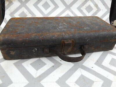 vintage old metal trunk case box with leather handle , toolbox?